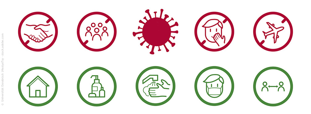 Red and green icons with behavioural tips during the Corona pandemic